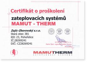 Certifikát o proškolení zateplovacích systémů MAMUT - THERM