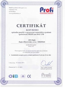 Certifikát PROFI